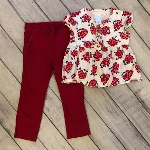 Janie and Jack Girl's Outfit, Size 3T, Red and Whi